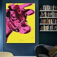 カラフルな牛アンディウォーホル動物のキャンバスの絵画壁アートリビングルームの抽象的な写真モダンなプリントポスター50X70cm20x28インチフレームなし