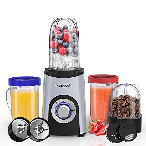 Homgeek Smoothie Blender, Multifunctional Blender 25000 RPM, 4 Cups, 13 Piece Set, Blender Smoothie Maker for Smoothie, Juicer, Ice Crush, Spices, Portable Cups, 350W