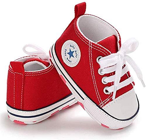 WangsCanis Babyschuhe Baby Junge Mädchen Schuhe Sneakers Weiche Leinwand mit Weichen und Rutschfesten Sohle Für 0-6 6-12 12-18 Monat (Rot, 3_Months)