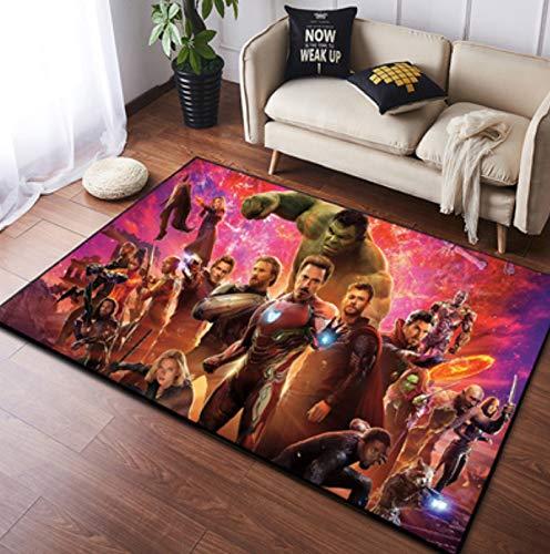 zzqiao Alfombra Estilo De Europa Y América Dibujos Animados Anime Avengers Hulk Iron Man Área Antideslizante Habitación Rectangular para Niños Sala De Estar Dormitorio Alfombra 80 * 120 Cm