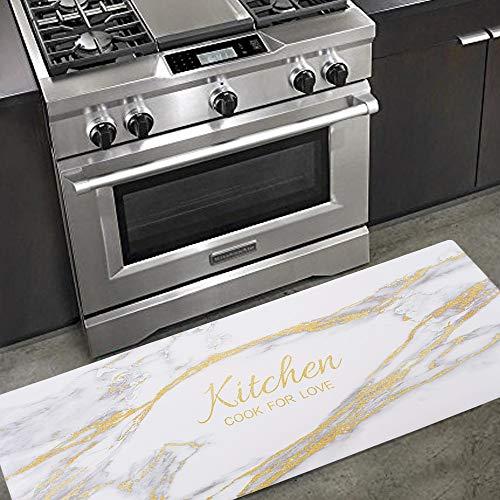 Carvapet Comfort Anti-Fatigue Kitchen Standing Desk Mat Waterproof Decorative Ergonomic Floor Pad Kitchen Rug, Gold Marble Design 18'x47'