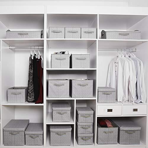 GRANNY SAYS Storage Bins, Closet Shelf Organizer Bin, Trapezoid Storage Bin Box for Shelves, Gray, 3-Pack