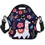 Violet Mist Neoprene Thermal Insulated Lunch Tote Bag Soft Large with Extra Pocket Detachable Adjustable Shoulder Lunchbox Handbags Women Girls (Alpaca Flower)