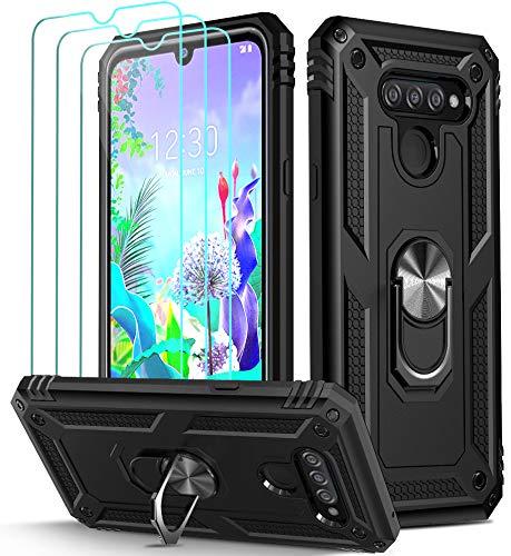 ivoler Funda para LG K50 / LG Q60 + [Cristal Vidrio Templado Protector de Pantalla *3], Anti-Choque Carcasa con 360 Grados Anillo iman Soporte, Hard Silicona TPU Caso - Negro