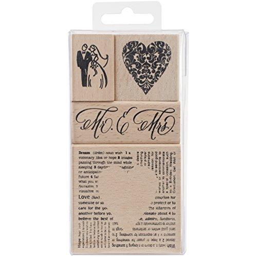 Stampendous, Wood Rubber Stamp Set, Wedding Set