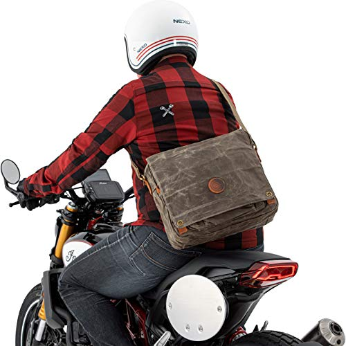 QBag Motorradtasche Motorrad Tasche/Hülle/Etui Messengerbag Canvas Retro, Umhängetasche, widerstandsfähig, reißfest, wasserabweisend, robust, 5 Fächer, Lederbesatz, für Arbeit, etc. 18 Liter