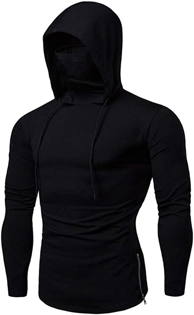 HONGJ Hoodies for Mens, Fall Face_Cover Mouth Outdoor Drawstring Side Zipper Hooded Sweatshirts Muscles Workout Pullover