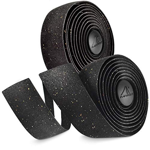 MARQUE Cork Bike Handlebar Tape – Bicycle Handle Bar Wrap Tape with Real Cork Bits for Road Cycling with Drop Bars, Comfortable Grip and Confident Steering (Black)
