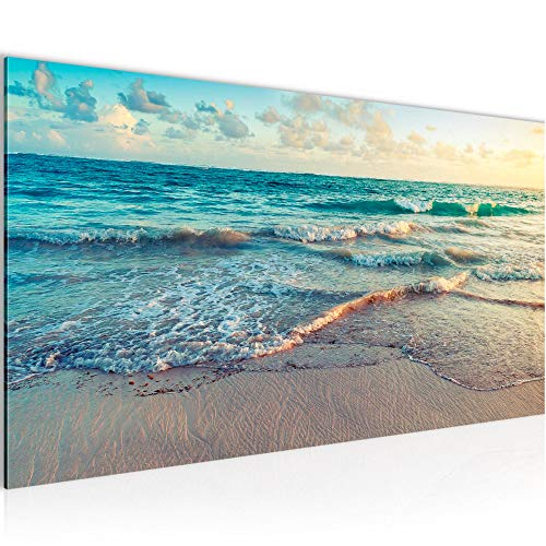 Wandbilder Meer Strand 1 Teilig Modern Vlies Leinwand Wohnzimmer Flur Panorama Blau Beige 015512a
