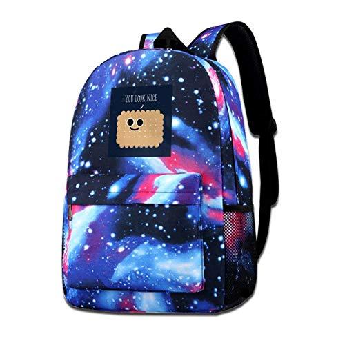 SFGHM Galaxy Printed Shoulders Bag Schöner Keks Du siehst gut aus Mode Lässig Star Sky Rucksack Für Jungen & Mädchen