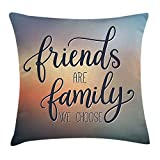 ZHIZIQIU Family Throw Pillow Cushion Cover by, Friends Are Famly We Choose Inspirational Phrase Fashion Print BFF Theme, Decorative Square Accent Pillow Case, 18 X 18 Inches, Dark Blue Yellow Peach