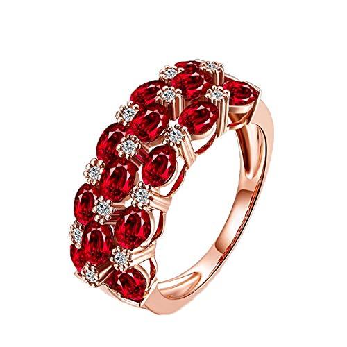 Beydodo Trauringe 750 Rotgold 3.3ct Oval Rubin Verlobungsring Diamant Rosegold für Damen Große 53 (16.9)