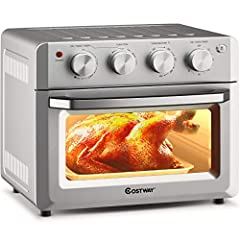 🍕【7-in-1 Versatile Air Fryer Oven:】Featuring 7 pre-set cooking functions, this electric air fryer toaster oven will simplify any kitchen task from air frying, broiling, baking to toasting, dehydrating and warming, our convection oven will satisfy all...