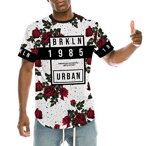 UrbanMax Mens Streetwear Hipster Floral Printed Longline T-Shirts