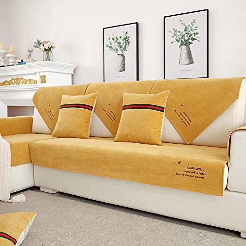Homeen waterproof sofa slip cover,Sectional Sofa shield,Universal couch Protector,Resistant Pet Lounge Sofa Cover,living room sofa throw-yellow_70*70cm