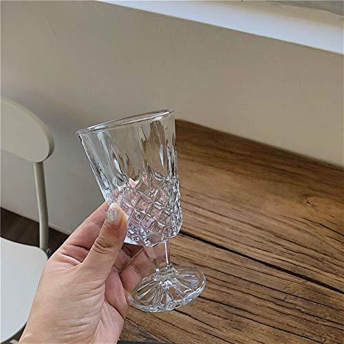 ERTERT 2 PCS Retro Tallado Copa de Vidrio Transparente Diamante Copos Red Wine Copas Champagne Flautes Inicio Bar Drinkware Navidad Año Nuevo Regalos