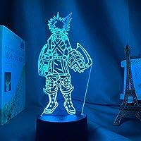 MQJ 3Dイリュージョンランプledナイトライトカツキ焼き子キッズルームタッチセンサールームアニメmyヒーローアカデミアテーブルランプ子供のためのベストバースデーホリデープレゼント