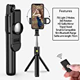 Mobilife Bluetooth Extendable Selfie Stick with Wireless Remote & 2 Level Fill Light