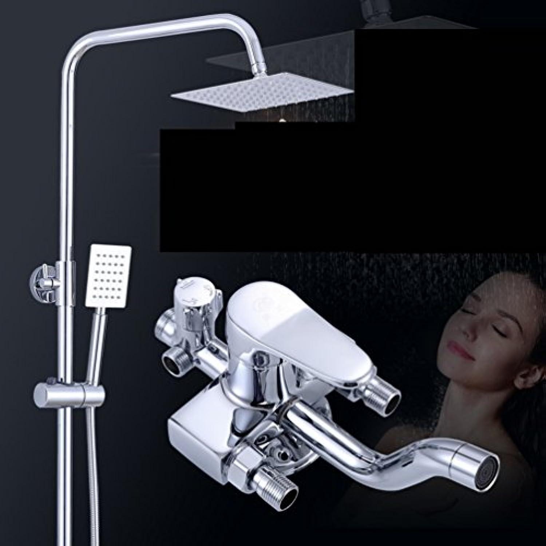 Unbekannt Gemischtes Wasserventil mit Duschset aus Kupfer Wand-Warm- und Kaltdusche Bad Dusche Kupfer Dusche Doppel-Dusche Wasserhahn,Zahl