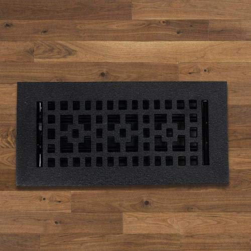Magnus Home Products Checkered Cast Iron Floor Register, 2 1/4' x 10', 3.0 lb
