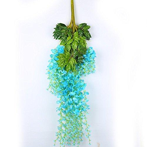 Lot de 12 fleurs artificielles Faux Wisteria Vigne Ratta Guirlande à suspendre Corde de fleurs en soie Home Party Mariage 3,6 Pieds 110 cm