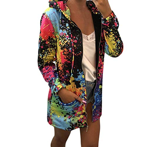 Mantel Damen Langarmshirt Kordelzug Taschen Mode Mehrfarbig Bedrucktes Zip Slim Fit Warm Cardigan Sweatshirt Business Casual Jacke Herbst Winter Fitness Jogging Sport Pullover Top M