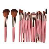 Easytoy 18 pcs Makeup Brush Set Tools Make-up Toiletry Kit Wool Make Up Brush Set (Pink)