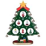 Legno Albero di Natale Piccola scrivania Albero di Natale con Ornamenti in Miniatura Tavolo Scrivania Fai da Te Mini Albero Decorazioni Natalizie per la casa Regalo dei Bambini Green