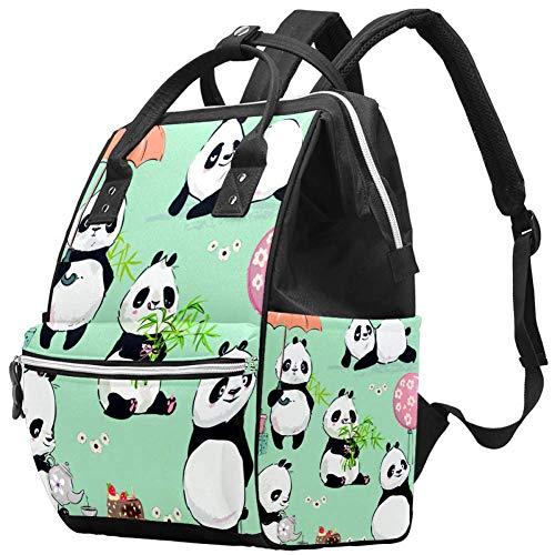 Grand sac à langer multifonction pour bébé avec bouteille d'eau isotherme pour maman et papa, collection Little Panda
