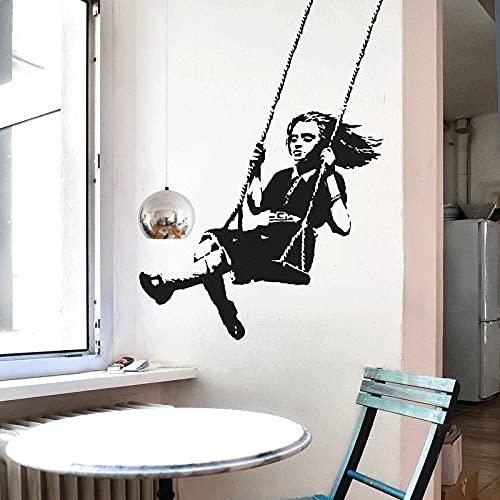 Etiqueta engomada de la pared del columpio de la muchacha linda pegatina extraíble de vinilo calcomanía mural de arte callejero Graffiti ciudad pegatina de fondo A6 42X60CM