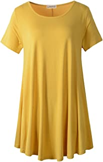 Women Short Sleeves Flare Tunic Tops for Leggings Flowy Shirt