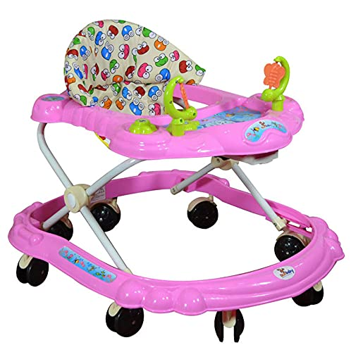 Sunbaby Baby Walker (Red) w/Kids Activity Rattle Toys for Babies Cycle, Adjustable Height, Thick, Safe & Comfortable Seat, Rotatable Wheel, Music Button, for Infant of 6 to 20 Months (Pink)