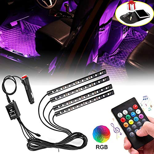 Car LED Strip Light, 4pcs 48 LED Multi-Color Car Interior Lights Under Dash Lighting Kit with Sound Active Function and Wireless Remote Control, Car Charger Included, DC 12V