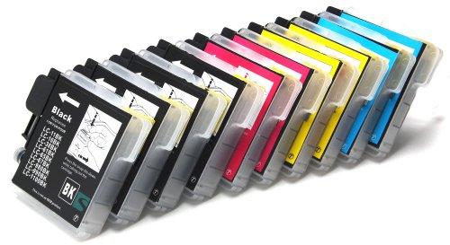 10 x compatibile Cartucce d'inchiostro Brother LC1100 LC980 (4x nero + 2x ciano + 2x magenta + 2x giallo) per Brother MFC-250C MFC-255CW MFC-290C MFC-295CN MFC-297C MFC-490CN MFC-490CW MFC-5490CN MFC-5890CN MFC-790CW MFC-795CW MFC-6490CW MFC-6890CDW MFC-990CW MFC-J615W DCP-145C DCP-163C DCP-165C DCP-167C DCP-185C DCP-195C DCP-365CN DCP-373CW DCP-375CW DCP-377CW DCP-383C DCP-385C DCP-387C DCP-395CN DCP-585CW DCP-6690CW DCP-J715W