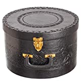 Hat Box for Men & Women Storage- Round Hat Box Container Easy Travel with Gold locking Lid and...