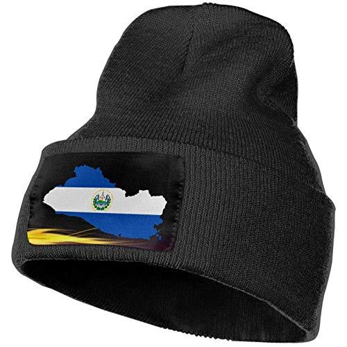 AEMAPE Sombrero de Punto Unisex Gorro de Calavera de Moda Sombreros de Punto - Mapa de la Bandera de El Salvador