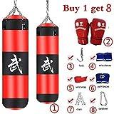 MoMo - Set de boxeo de 8 piezas. Saco de boxeo (de arena) pesado, guantes, cadenas y gancho. Para adultos, profesionales y principiantes, 1#