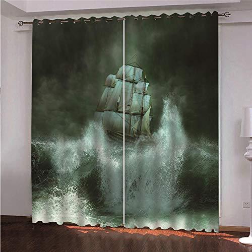 DOORWD Cortina Opaca 3D de Aislamiento térmico Vela Nocturna Decoraci