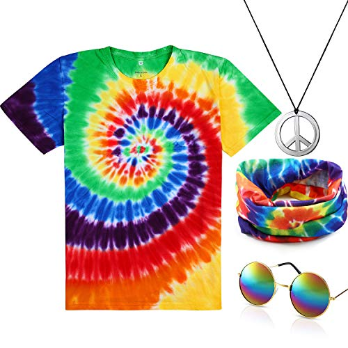 4 Pieces Hippie Costume Set, Include Colorful Tie-Dye T-Shirt, Peace Sign Necklace, Headband and Sunglasses for Theme Parties (L-Women, Rainbow Color)