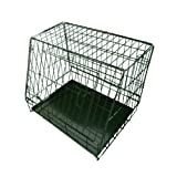 Ellie-Bo Sloping Puppy Cage Small 24 inch Black Folding Dog Crate with Non-Chew Metal Tray With Slanted Front For Car