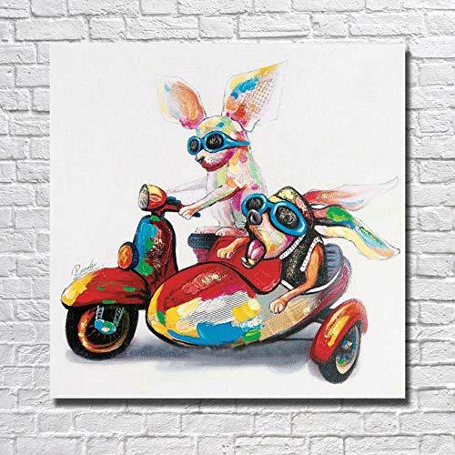 Olieverfschilderij op canvas handgeschilderd, abstract mooie grappige dierenschilderijen, kleurrijke honden op motor driewieler, grote moderne muurkunst wooncultuur voor binnen woonkamer slaapkamer kantoor 130×130 cm