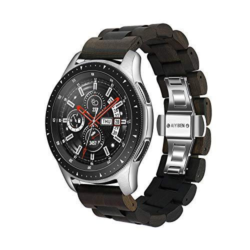 Holz Armband 22mm für Samsung Galaxy, 46mm Holz Edelstahl Uhrenarmband Quick Release Strap Ersatz Armband Armband für Gear S3 (Brown)