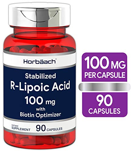 R Lipoic Acid 100mg Stabilized | 90 Capsules | Plus Biotin Optimizer | Non-GMO, Gluten Free | Na-RALA Supplement | by Horbaach