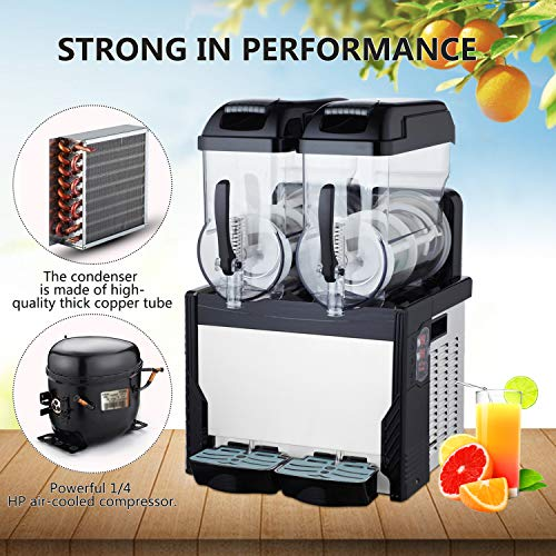 ABDQPC 110V Commercial Margarita Machine Slushie Machine 2 Bowl 15L Slushy Machine 700W Frozen Drink Maker Ice Slushies for Supermarkets Cafes Restaurants Snack Bars