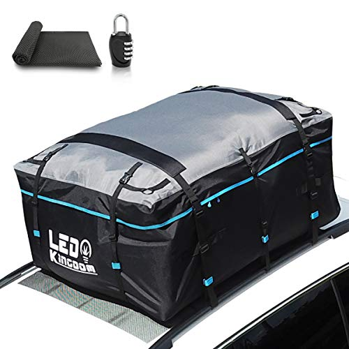 LED Kingdomus Car Roof Bag, Waterproof Cargo Top Storage Bag, 15 Cubic Feet Heavy Duty Rooftop Bag Vehicle Soft Shell Carrier Bag, Fits All Cars with No Roof Rack, 2 Reinfored Straps Included