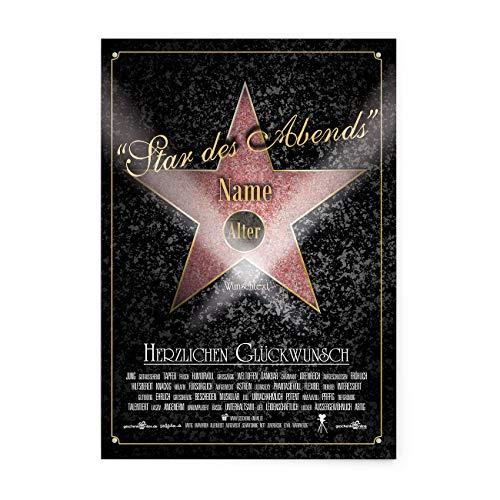 Herz & Heim® Blechschild zum Geburtstag - Walk of Fame - Wunschname, Alter + Text - A4