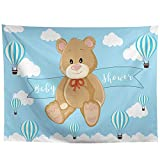 Allenjoy 10x8ft Cartoon Bear Baby Shower Backdrop Infant Newborn Baby It's a Boy Prince Welcome Baby Blue Hot Air Balloons Photography Background Cake Table Banner Decorations Photo Booth Props