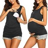 UNibelle Stillshirt Schwangeres Stillen Nursing Schwangerschaft Top schwarz L