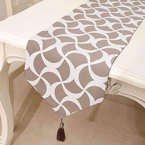 LY88 Rectangular Table Runner Polyester Fabric Home Decoration for Party Wedding Light Brown 32x220cm