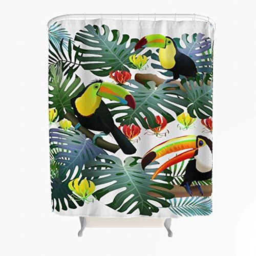 Blätter Tukan Duschvorhang Anti-Schimmel Polyester Tropisch Pflanze Badewanne Vorhang mit Haken Weiß 180x200cm